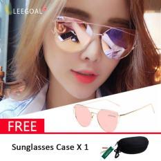Leegoal Kacamata Wanita Kacamata Hitam Anti UV, Emas dan Pink