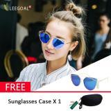 Spesifikasi Leegoal Wanita Kacamata Hitam Sunscreen Anti Uv Warna Film Kacamata Busana Sliver And Biru Bagus