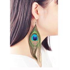 Leegoal Fashion Wanita BoHo Panjang Gaya Batu Alam Anting Bulu Merak (Biru)