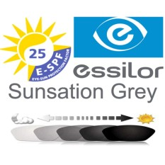 Lensa Essilor Single Vision Sunsations Grey / Photocromic / Photogrey 1.56 Crizal Alize / Normal / Minus-Cyl Anti Radiasi Komputer Berubah Warna
