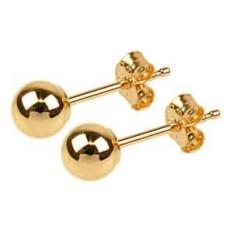 Seumur Hidup Perhiasan Stud Anting-Anting, Medium, 24 K Gold Lebih Semi Logam Mulia, bulat Manik-manik dengan Bedah Tiang Baja Membuatnya Aman untuk Paling Peka Telinga, 5 Mm Diameter-Internasional