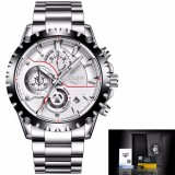 Tips Beli Lige Watch Men Fashion Sport Quartz Watch High End Brand Luxury Full Steel Business Watch Casual Waterproof Mens Watches Relogios Masculino Gifts Box Intl