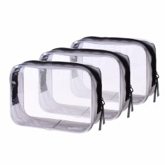 "Lightning Power-3 PCS 6.75"" x 4.75"" x 2.25"" PVC Transparent Plastic Zipper Bag Airline Carry On Clear Travel Toiletry Bag - intl"