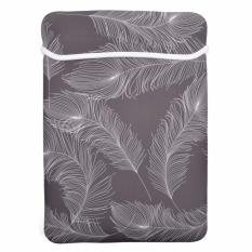 Lightning Power-Feather Series Soft Neoprene Laptop Notebook Ultrabook 13 Inch Sleeve Carrying Case Bag untuk MacBook Pro Macbook Air A1369/13.3 Inch HP Stream (Warna Abu-abu dengan Bulu Putih)