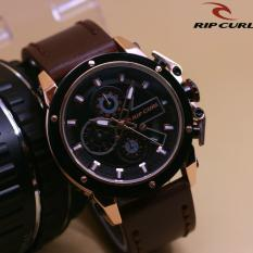 [LIMITED EDITION] RIPCURL - JAM TANGAN FASHION KEREN DAN CASUAL PRIA-COWOK RIPCURL COLORADO - CRONO ACTIVE & DATE ON - LEATHER STRAP BODY GOLD RING BLACK - STAINLESS STEEL