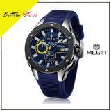 Spesifikasi Megir Men Sport Watch Chronograph Tali Silikon Quartz Army Militer Jam Tangan Jam Pria Top Brand Luxury Pria Relogio Masculino 2053 Biru Murah