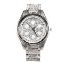 LingTud Ladies Casual Fashion QUARTZ Watch Shell Permukaan Pemangkasan Glass Diamond Tebal Dial Besar Meja Jaminan Kualitas (Silver)