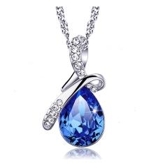 Liontin Kristal Berlian Imitasi Wanita Bergaya Rantai Kalung Perak Perhiasan Elegan Tetesan Air Mata Cinta Hadiah Pesta Pernikahan