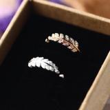 Toko Lodge Perempuan Berlian Penuh Berlian Daun Cincin Perak Cincin Lengkap Tiongkok