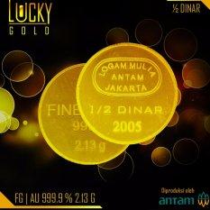 Logam Mulia Koin 1/2 Dinar Emas Antam 2.13 Gram Fine Gold 999.9 24 Karat Bersertifikat Antam
