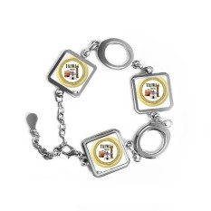 Logo Taiwan Attractions Building Square Shape Metal Bracelet Love Gifts Jewelry With Chain Decoration - intl