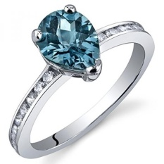 London Blue Topaz Ring Sterling Silver Rhodium Nickel Finish Pear Shape 1.25 Carats Size 5 - intl