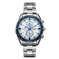 Beli Longbo Merek Stainless Steel Olahraga Gaya Bisnis Analog Quartz Watches Tahan Air Wrist Mens Watches Putih 80007 Internasional Murah Tiongkok