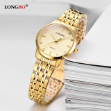 Dapatkan Segera Longbo Fashion Kasual Stainless Steel Watchband Quartz Analog Tahan Air Watch 80322