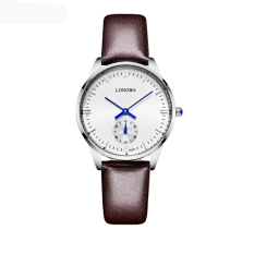 Beli Longbo Luxury Brand Leisure Wrist Watch Couple Watch Military Quartz Leather Band Waterproof Brown 80070 Secara Angsuran