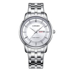Harga Longbo Luxury Leisure Couple Watch Fashion Quartz Wristwatches Stainless Steel Date Calendar Waterproof Men 80146 Satu Set