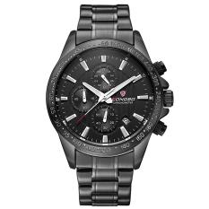 Beli Longbo Men Military Stainless Steel Analog Date Sport Quartz Wrist Watch Black Di Tiongkok