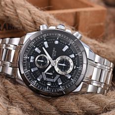 Harga Longbo Men S Military Stainless Steel Waterproof Quartz Wristwatch Watch Black Lengkap