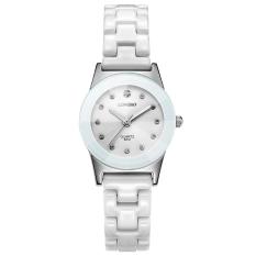 LONGBO Wanita Perhiasan Berlian Imitasi Kuarsa Keramik Tahan Air (Putih)