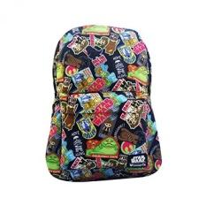 Loungefly Star Wars AOP Nylon Backpack (Star Wars Stiker Kecil Di HITAM)-Intl