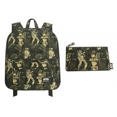 Loungefly Star Wars Backpack and Pencil Case Bundle Set for Back to School (Boba Fett Leaves Camo) - intl