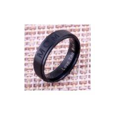 MENCINTAIMU MOM' Titanium Ukiran Ring Women's Ring Hadiah Hari Ibu untuk Ibu Cincin Keanggunan Halus Perhiasan- 9 #, Hitam-Intl