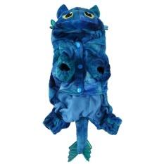 Indah Hewan Peliharaan Kucing Anjing Hangat Coral Velvet Kostum Fly Dragon Halloween Kostum (Biru)-XS-Intl