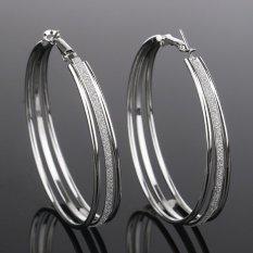 Indah Berlapis Kristal Berlian Imitasi Tiga Lingkaran Ring Menjuntai Anting-Anting Perak