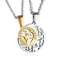 Beli Barang Lover Couple Kalung Hollow Out Sun Moon Crystal Rhinestone Pendant Pasangan Kalung Intl Online