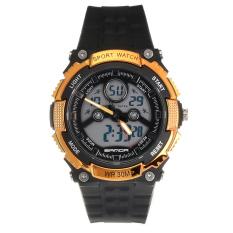 Kelangsungan Analog Digital LED Sports 30 M Jam Tangan Karet Kedap Air (Gold)