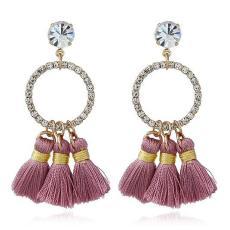LRC Anting Bohemia Round Shape Decorated Tassel Earrings