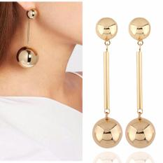 Rp 45.700. LRC Anting Elegant Gold Color Double Ball Shape Decorated ...