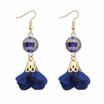 anting simple LRC Anting Fashion Sapphire Blue Flower & beads Decorated Pure Color .