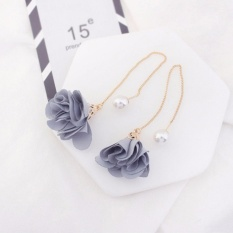 LRC Anting Gantung Elegant Gray Flower Shape Decorated Simple Long Chain Earrings