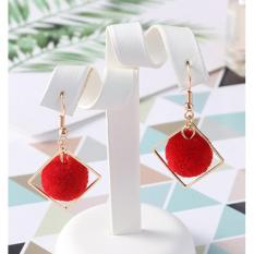 LRC Anting Gantung Fashion Pom Ball Shape Decorated Earrings
