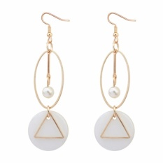 LRC Anting Gantung Fashion White Geometric Shape Decorated Hollow Out Simple Earrings