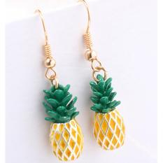 LRC Anting Gantung Fashion Yellow+green Pineapple Shape Decorated Earrings
