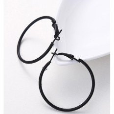Lrc Anting Hoop Fashion Round Shape Decorated Earrings (4cm) By Toko Aksesoris Online.