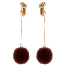 LRC Anting Jepit Fashion Ball Shape Decorated Pom Earrings