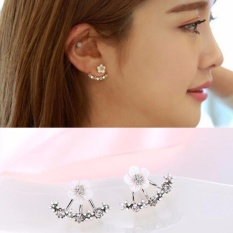 LRC Anting Tusuk Elegant Silver Color Diamond&flower Decorated Simple Design Alloy Stud Earrings