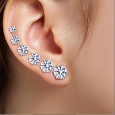 LRC Anting Tusuk Elegant White Diamonds Decorated Geometric Shape Jewelry Sets
