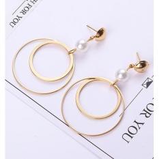 LRC Anting Tusuk Fashion Circular Ring Decorated Earrings
