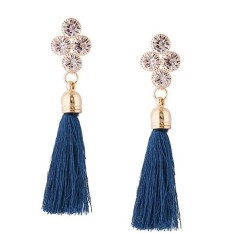 LRC Anting Tusuk Fashion Diamond Decorated Long Tassel Earrings