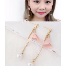 LRC Anting Tusuk Fashion Light Pink Flower&pearls Decorated Long Earrings