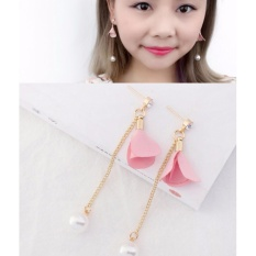 LRC Anting Tusuk Fashion Plum Red Flower&pearls Decorated Long Earrings
