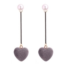 LRC Anting Tusuk Lovely Heart Shape Decorated Earrings