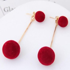 Lrc Anting Tusuk Sweet Double Fuzzy Balls Pendant Decorated Pure Color Simple Earrings By Toko Aksesoris Online.
