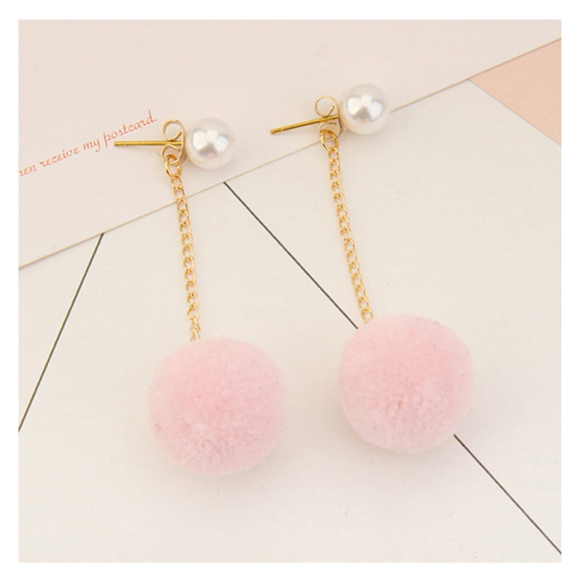 Pencari Harga LRC Anting Tusuk Sweet Fuzzy Ball&pearls Decorated Pom Earrings terbaik murah - Hanya Rp9