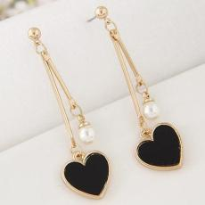LRC Anting Tusuk Sweet Heart Shape Pendant Decorated Smple Long Earrings