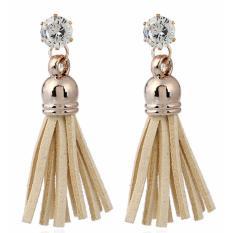 LRC Anting Tusuk Trendy Beige Diamond&tassel Decorated Pure Color Simple Earrings